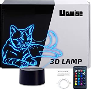 3D Cat Night Light, Urwise 3D Cat Lamp 16 Color Changing Light with Remote Control Animal Toys Bedroom Home Decor for Boys Girls and Kids Birthday Xmas Gift, Including DIY Gift Packaging Materials