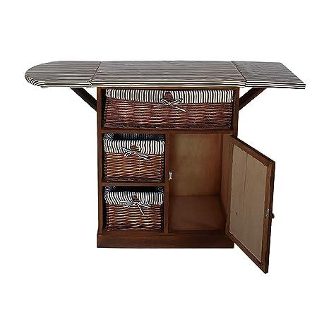 Rebecca Mobili Mueble para coser y manualidades , 3 cestas mimbre 1 puerta, madera paulownia, marrón, shabby rustico, lavandería- Medidas: 84 x 65 x ...