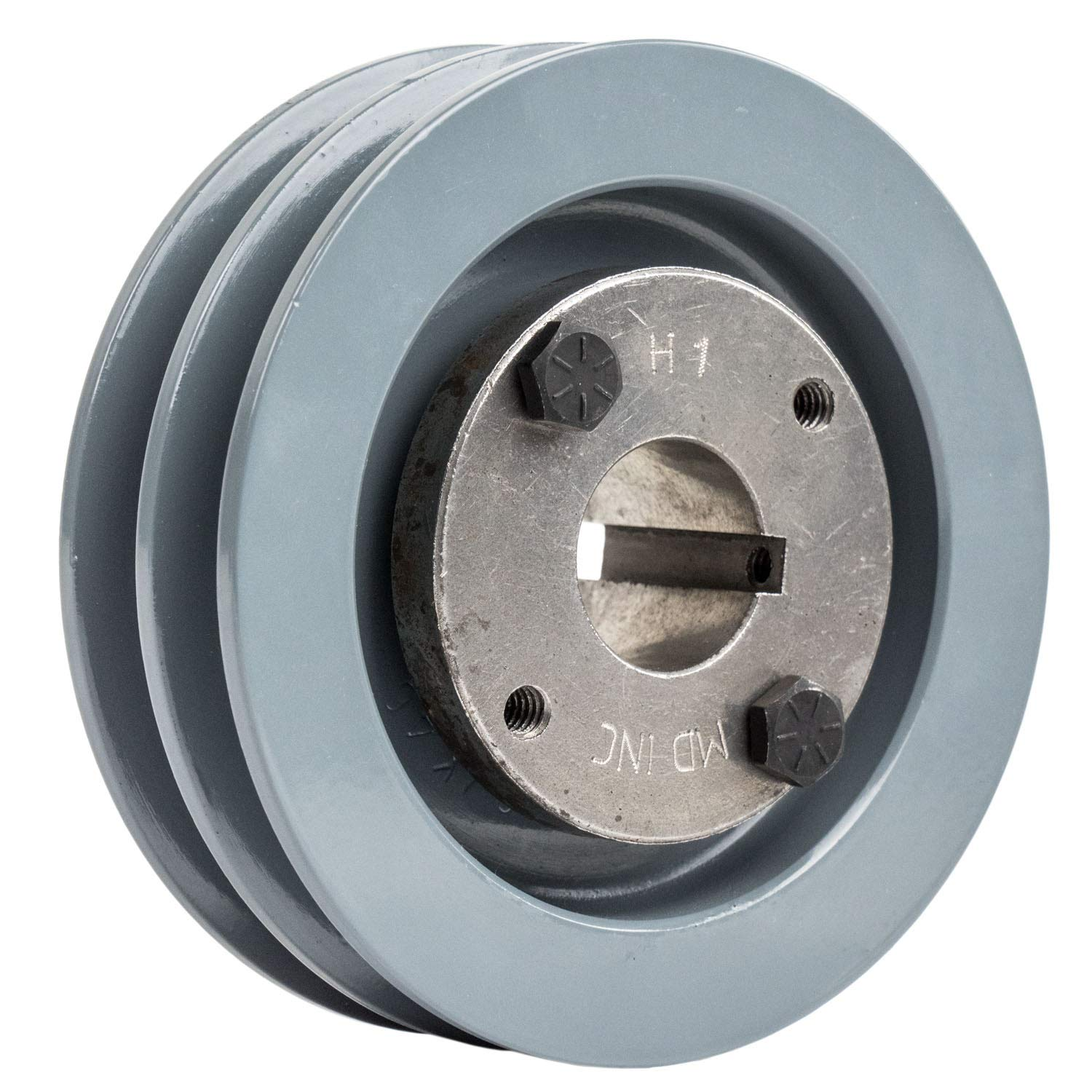 2 Piece Cast Iron 4.5'' 2 Groove Dual Belt A Section 4L Pulley with 1'' Sheave Bushing 2AK46H by Masterdrive