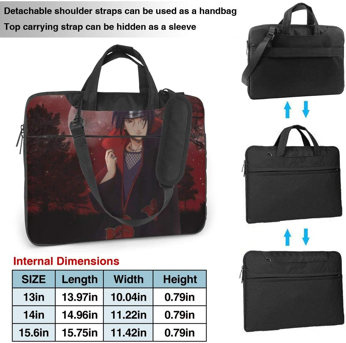 Naruto Uchiha Itachi Laptop Sleeve Case Handheld One Shoulder Shockproof Oxford Protective Case//Notebook Computer Pocket Case//Tablet Briefcase Carrying Bag Compatible-14 inch