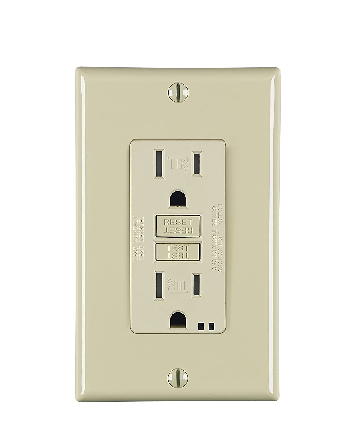 Leviton S7599 I 15 Amp Self Test Gfci Wallplate Included Electrical Wiring In The Home No Power To Bathroom Receptacles Smartlockpro Back And Side Wired Tamper Resistant Ivory Ground Fault Circuit Interrupter Outlets