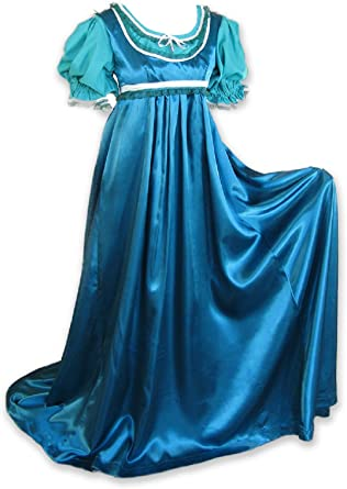 Rose Pink Regency Jane Austen Style 2 Piece Satin Ball Gown Costume Cosplay Med