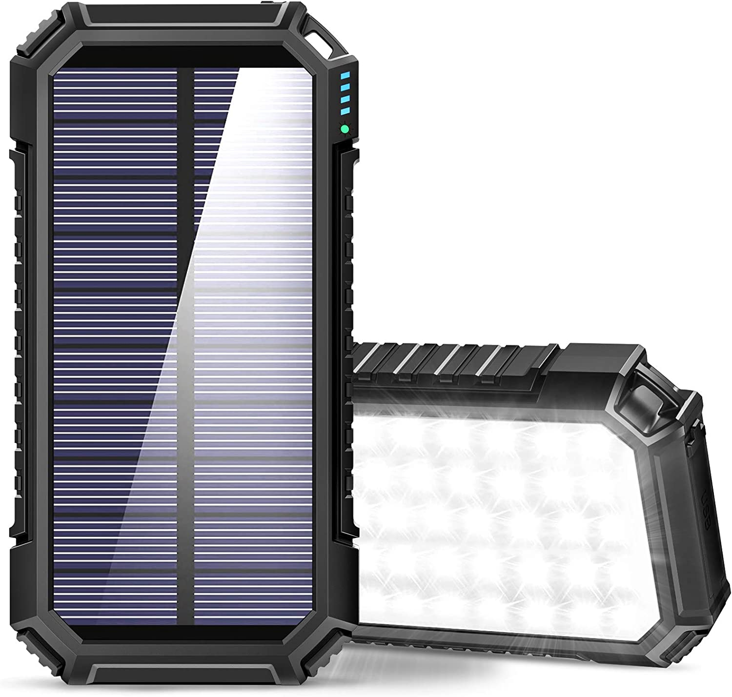 SOARAISE Solar Power Bank 26800mAh, Solar Charger with 3 USB Outputs and 60 LEDs, Quick Charging External Battery Pack for iPhone, Samsung, Camping and Outdoor