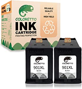 Coloretto Re-Manufactured Printer Ink Cartridge Replacement for HP 901 901XL 901 XL,Ink Level Display for HP Officejet 4500 G510a G510g G510n J4500 J4524 J4624 J4660 J468(2Black)