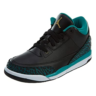 0a2580c18acb1b Nike Baby Girls Air Jordan 3 Retro GG Black Metallic Gold-Teal Leather Size