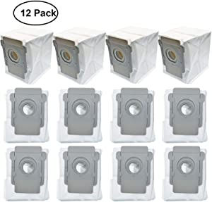 Lemige 12 Packs Vacuum Bags for iRobot Roomba i7 i7+/Plus s9+ (9550) Clean Base Automatic Dirt Disposal Bags