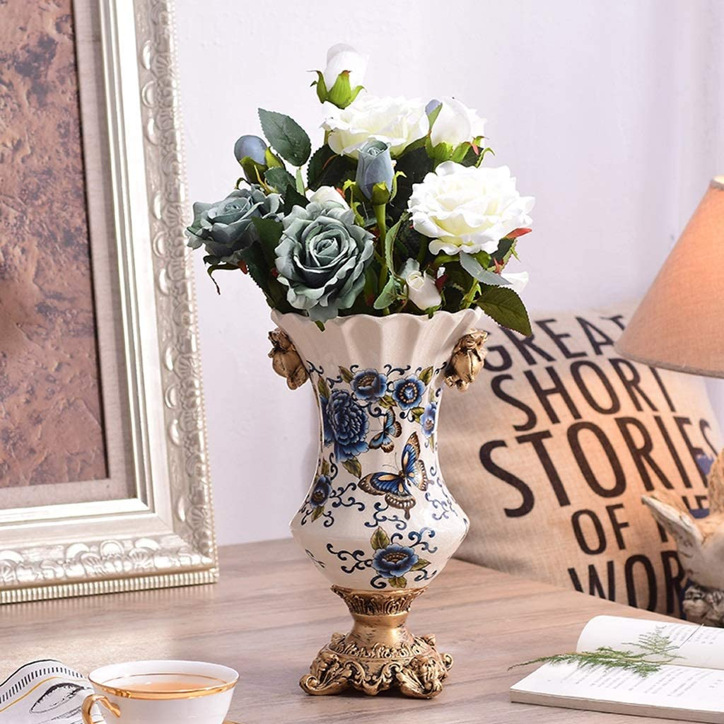 Amazon Com Czx Artificial Flower Vases Set Large Jar Ceramic European Simple Jar Home Accessories With 4 Bouquets Of Magnolia Gift For Living Room Bedroom Table Floor Vase Or Special Occasion Home Kitchen