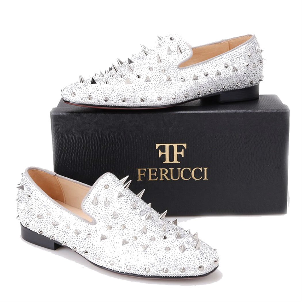 f458c7ad091a7 FERUCCI Men Silver Spikes Slippers Loafers Flat with Crystal GZ Rhinestone