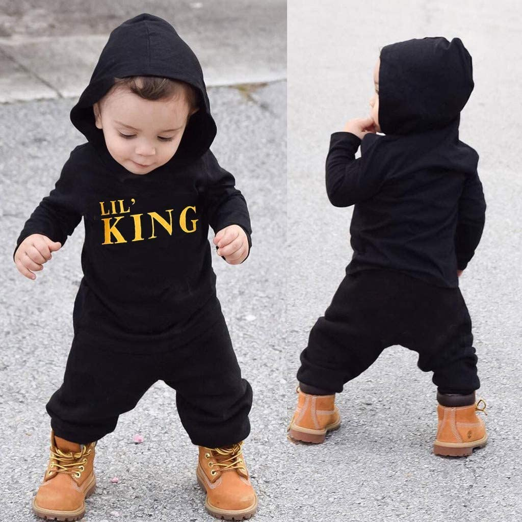 Striped Pants Outfits Set Toddler Infant Baby Boys Girls Clothes Long Sleeve Hoodie Sweatshirt Top