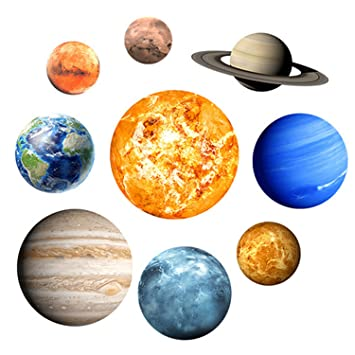 Luminous Wall Sticker 9 Nine Planets Solar System Fluorescent Wall ...