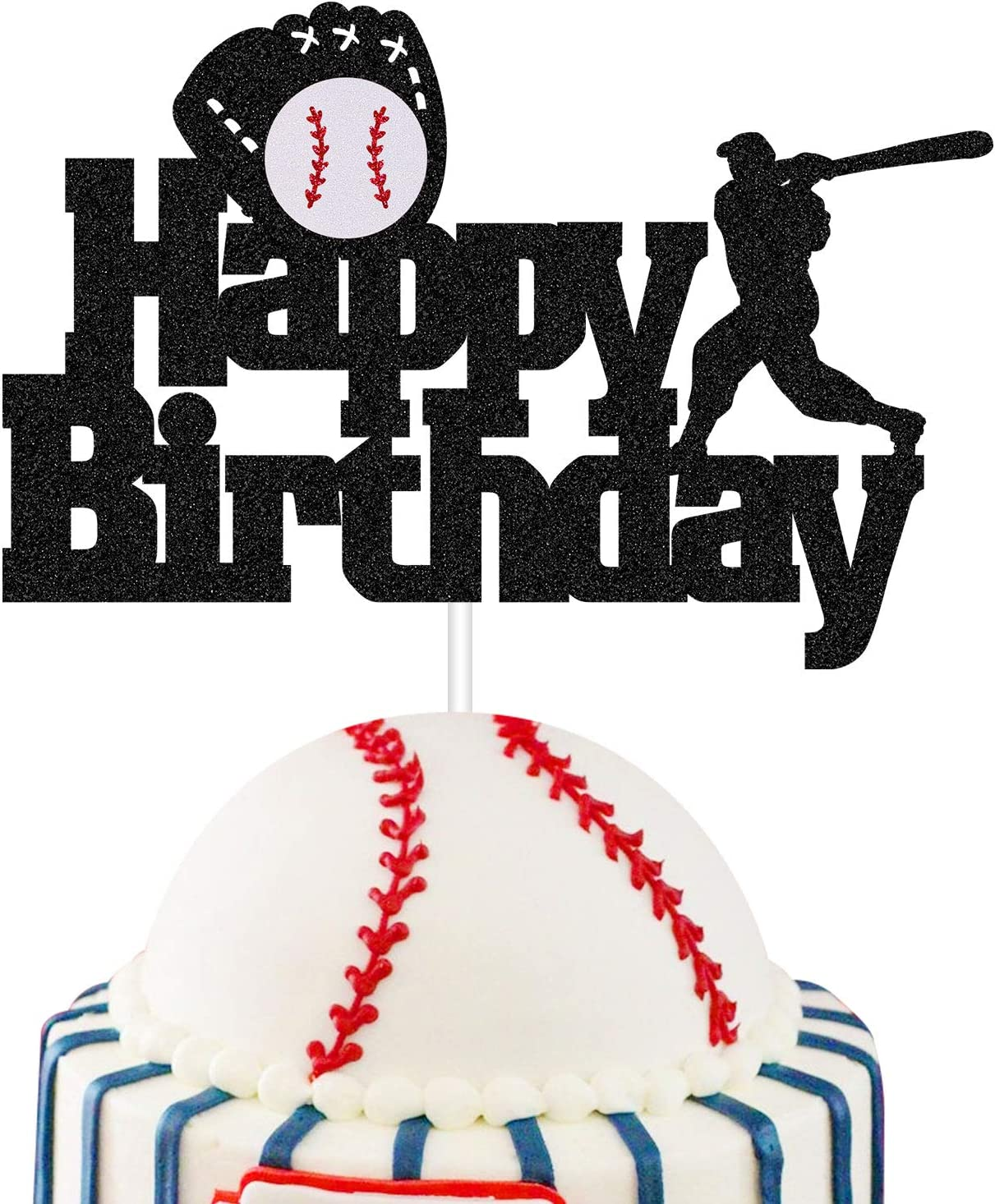 Purp Pie Baseball Happy Birthday Cake Topper, Sports Theme Party Decoration Supplies 1st First Birthday Baby Shower Cake Decor for Kids Concessions Glittery One Cake Topper (Baseball)