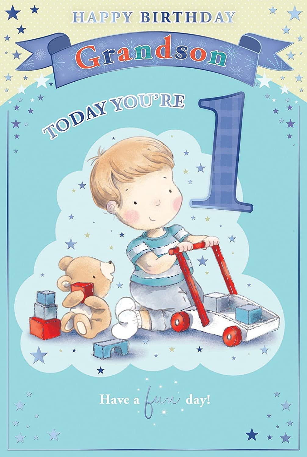 Grandsons 1st birthday card 1 today little boy bear playing grandsons 1st birthday card 1 today little boy bear playing with toys 9 x 6 amazon office products bookmarktalkfo Image collections