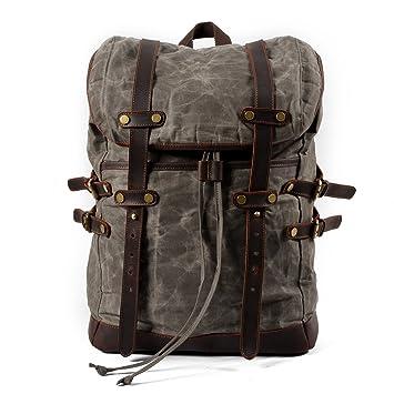 3bd217cd0b10 Amazon.com: Vintage Canvas Leather Laptop Backpack for Men School ...