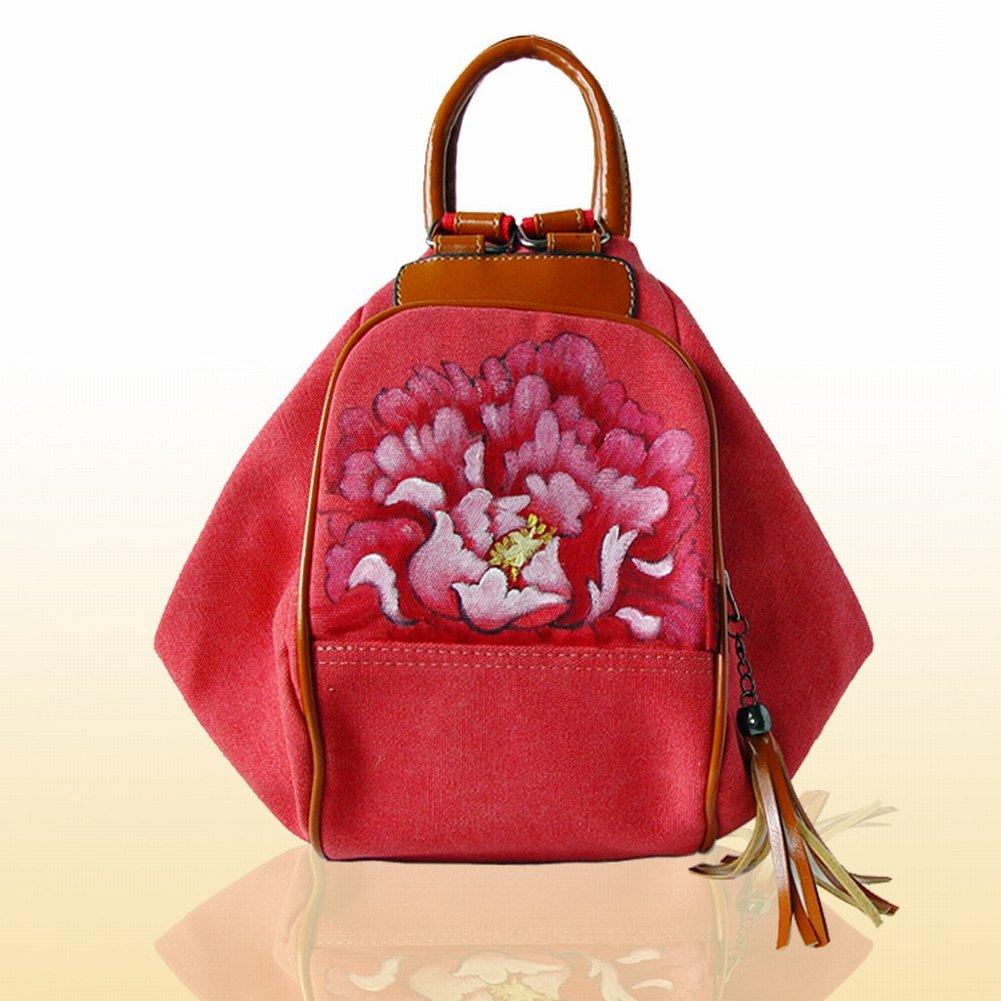 Reißverschluss-Segeltuch-Beutelhandtaschen-Handtaschenhandtasche , Pfingstrose & rot