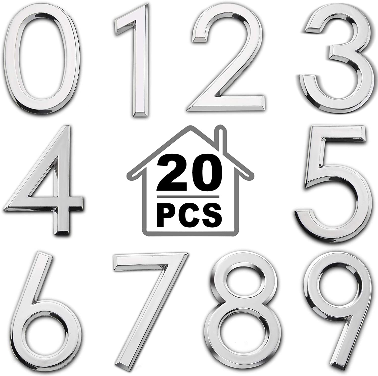 20 Pieces Mailbox Numbers Door Numbers 0-9 Self-Adhesive 2-Inch Address Number Stickers Street House Number Signs for Residence, Apartment, Office Room, Mailbox (Silver)