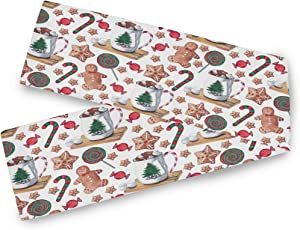 Bardic CFAUIRY Table Runner Cute Gingerbread Man 13x70 Inch Long for Wedding Dining Kitchen Coffee Table Runner Holiday Party Season Modern Decor