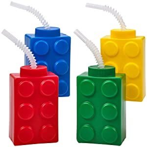 Building Blocks Cups with Straw & Lid - (Pack of 4) Reusable Brick Party Kids Cup for Block Birthday Party Supplies and Favors by Bedwina