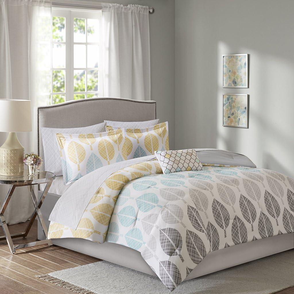Madison Park Essentials Central Park Cal King Size Bed Comforter Set Bed in A Bag - Yellow, Aqua, Grey, Leaf – 9 Pieces Bedding Sets – Ultra Soft Microfiber Bedroom Comforters