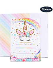 AMZTM Invitaciones con Sobres para la Fiesta de Cumpleaños Baby Shower Decoraciones Accesorios de Unicornio Arcoiris