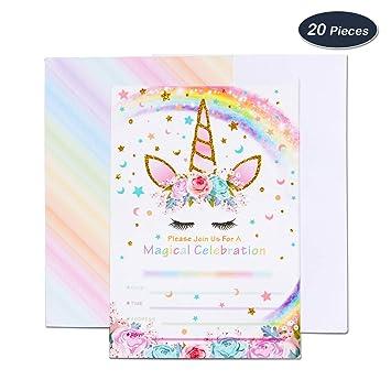 35500dbabd70c AMZTM Invitaciones con Sobres para la Fiesta de Cumpleaños Baby Shower  Decoraciones Accesorios de Unicornio Arcoiris para Niños Chicas Juego de  20  ...