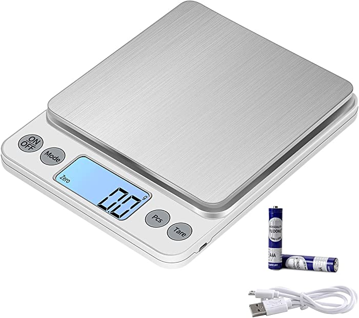 KUBEI Upgraded Larger Size Digital Food Scale Weight Grams and OZ, 5kg/0.1g Kitchen Scales for Cooking Baking, High Precision Electronic Scale for LCD Display