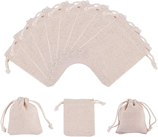 PandaHall Elite 30 Bolsas rectangulares de algodón con cordón para ...
