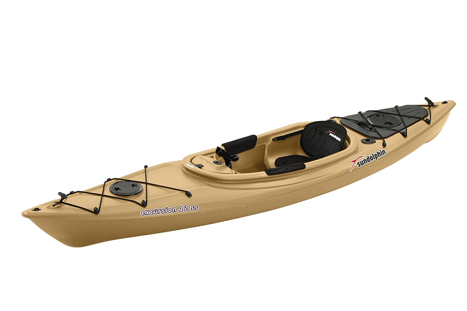 Sun dolphin excursion sit in fishing kayak olive 12 feet for Sit on vs sit in kayak for fishing
