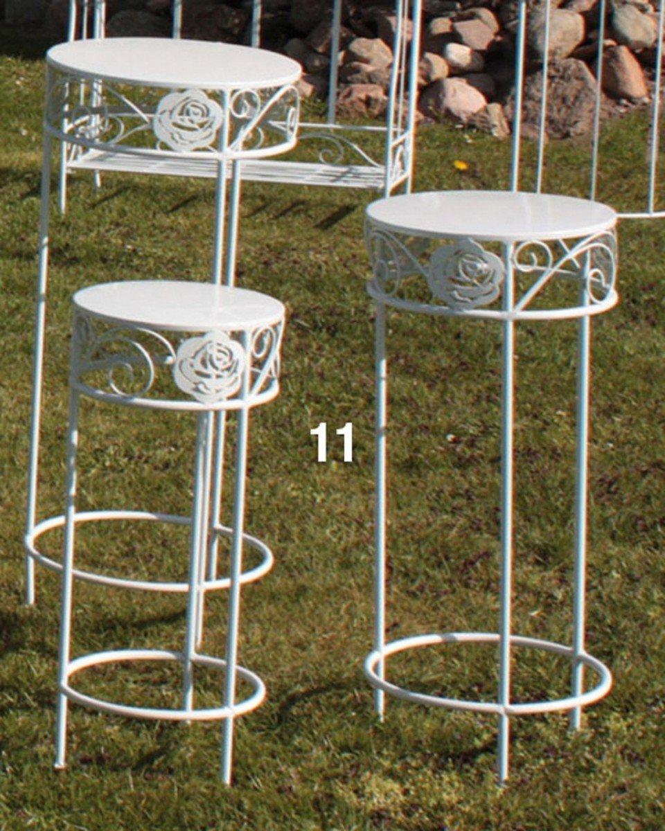 Dreams4Home Gartenmetall Blumenständerset 'Daisy' - 3er Set, Blumenregal, Blumenständer, Metallset, Metall, Pulverbeschichtet, Balkonmöbel, Gartenmöbel, Terrasse, Outdoor, in glänzend weiß