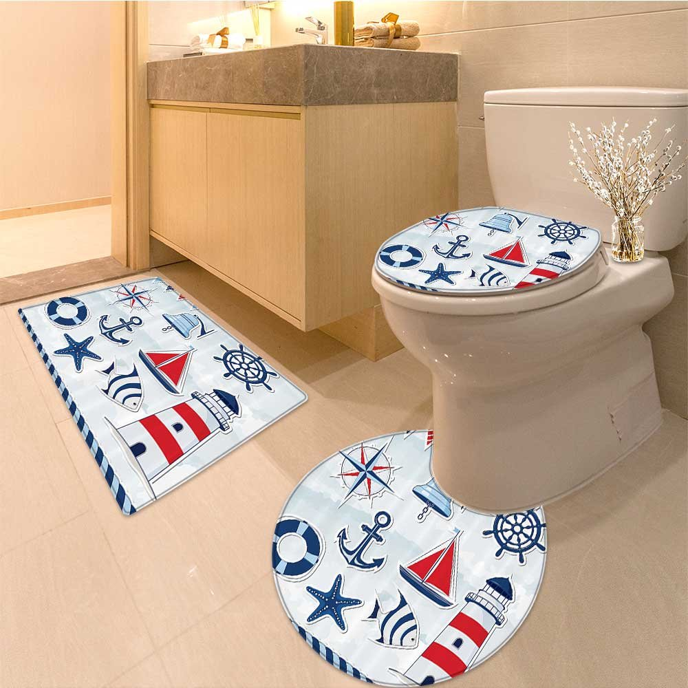 3 Piece large Contour Mat set Collection Anchor with Bed Living Dorm Wal Hanging Tapestry White and Blue Bathroom Rugs Contour Mat Lid Toilet Cover