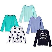 Spotted Zebra Camisetas de Manga Larga Niñas, Pack de 5