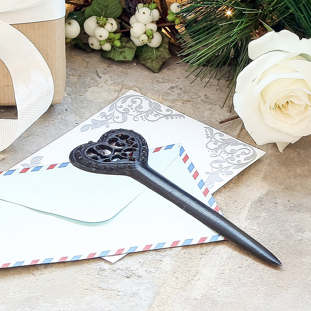 6th Wedding Anniversary Gift Idea Cast Iron Heart Letter Opener ...