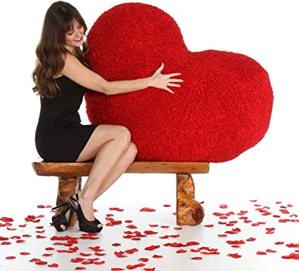 Tickles 42 Inch Huge Red Heart Body Pillow for Valentine,s Day 3.5 Feet Soft Stuffed for Kids 102 cm