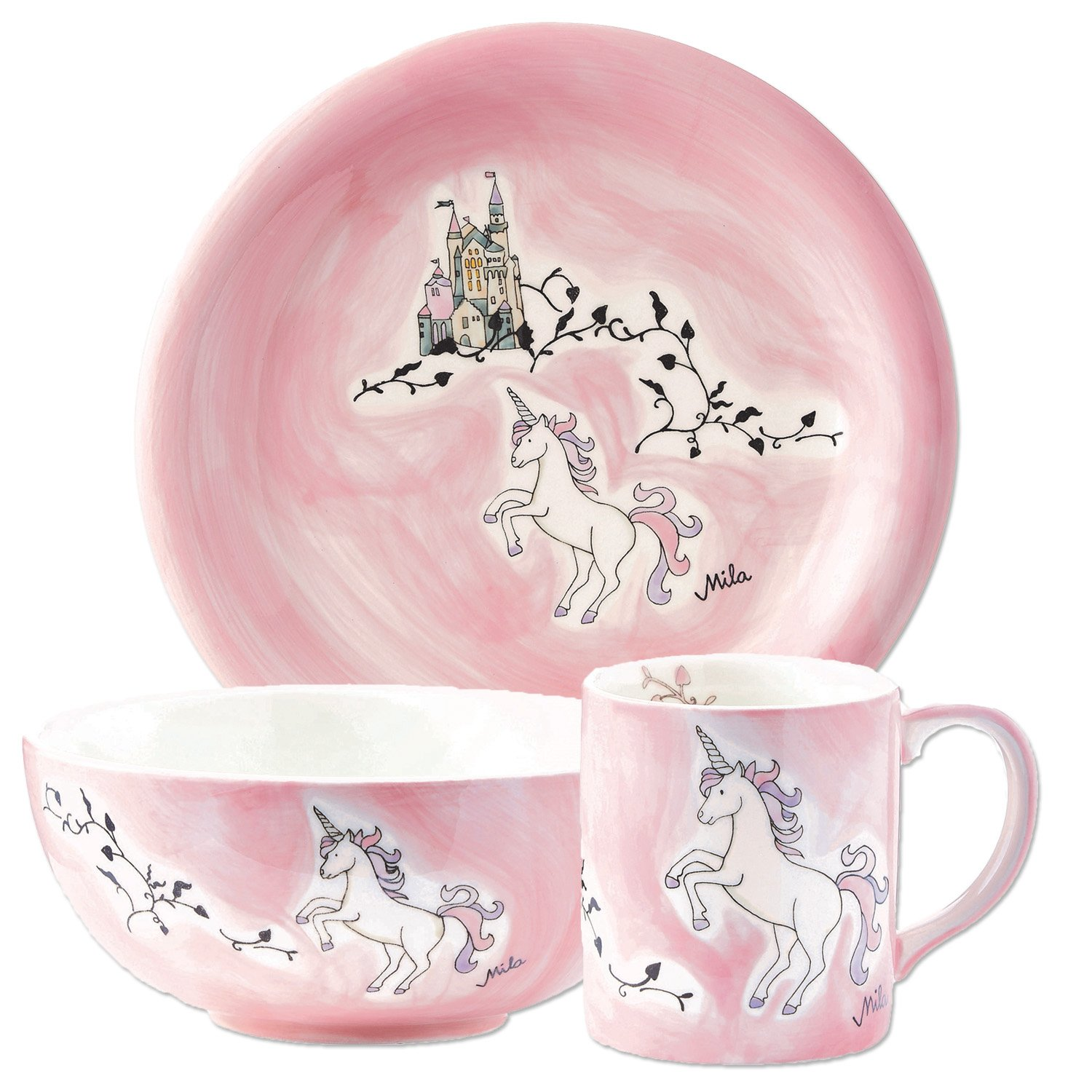 Children's Handpainted Unicorn Ceramic Dinner Set | Kids Unicorn Tableware | Unicorn Gifts Mila