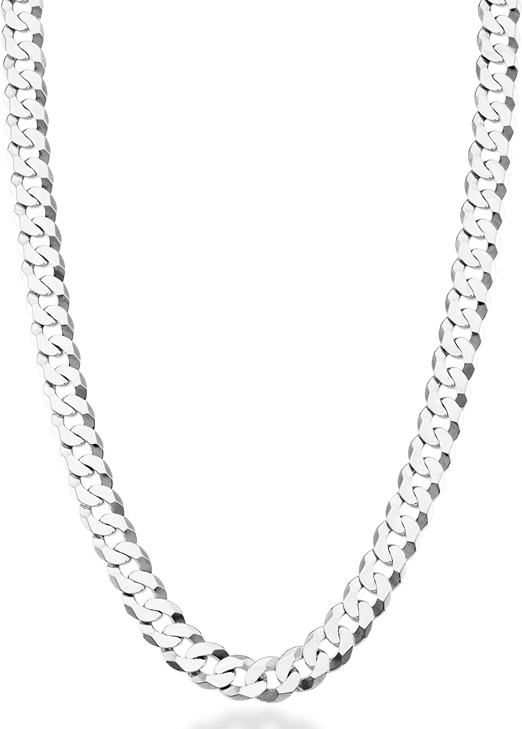 Miabella Solid 925 Sterling Silver Italian 7mm Diamond Cut Cuban Link Curb Chain Necklace for Men Women, 16, 18, 20, 22, 24, 26, 30 Inch