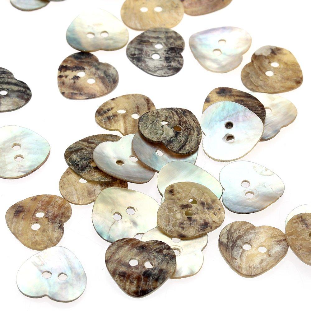 Skyllc® 100 Pezzi Carino Shell naturale a forma di cuore 2 fori cucire Pulsante per 15 millimetri fai da te Craft per bambini Bambini del cappello dei vestiti Decoration