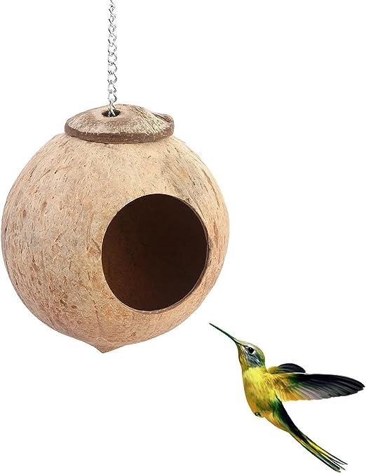 Auoker - Caseta de pájaros de Coco 100% Natural con Escalera Colorida para pájaros, Divertido Juguete Decorativo para Loro/perico/Conejo/cacatúa y Otros pájaros pequeños o Mascotas: Amazon.es: Productos para mascotas