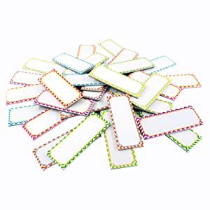 """Magnetic Dry Erase Labels Name Plates White Board 32 Labels 8 Colors,3.2"""" x1.2"""""""