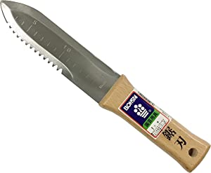 "Bonsai No.10044 Japanese Hori Hori Garden Knife, Straight and Serrated Edge Stainless Steel Blade 6.7""(170mm), Wooden Handle, Leather Sheath"