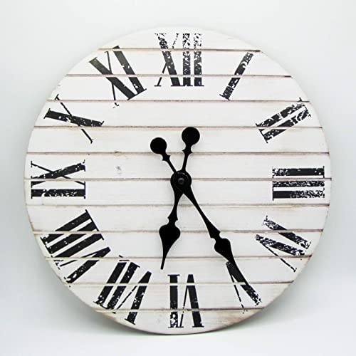 RUSTIC WALL CLOCK -CLOCKS FOR LIVING ROOM DECOR -14 INCH -FARMHOUSE CLOCK RUSTIC CLOCK – LARGE DECORATIVE HANDS -BATTERY OPERATED NON TICKING -WOOD PRINTED WALL CLOCK -PRINTED VINTAGE WHITE SHIPLAP