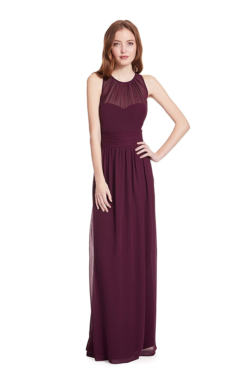 Samantha Paige Bateau Neckline Illusion Detail A-Line Chiffon Formal Dress SP 80235
