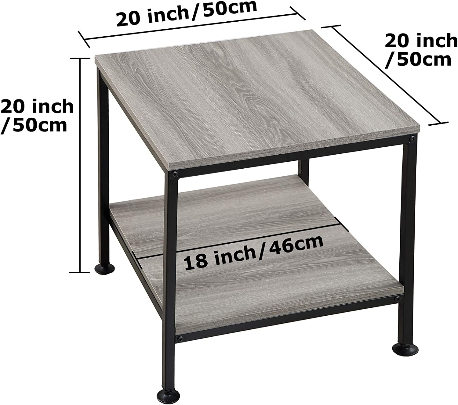KirKical 20 Inch 2 Tiers Square End Table with Metal Frame,Rustic Grey Night Stand Side Table Sturdy Easy Assembly Simple Style for Living Room Bedroom(Set of 1)