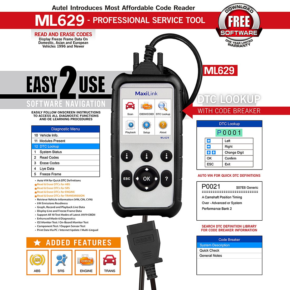 Autel Maxilink ML629/AL629 Code Reader (Upgraded version of AL619) Auto OBD2 Scanner Automotive Scan Tool Can ABS SRS Engine Transmission