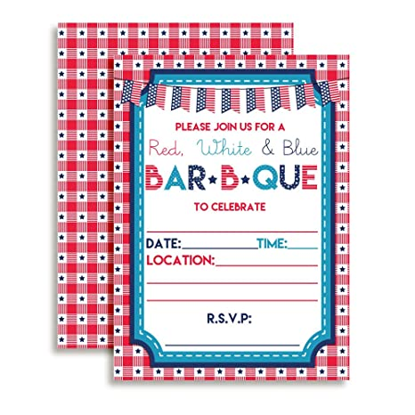 amazon com red white and blue bbq party invitations 20 5 x7 fill