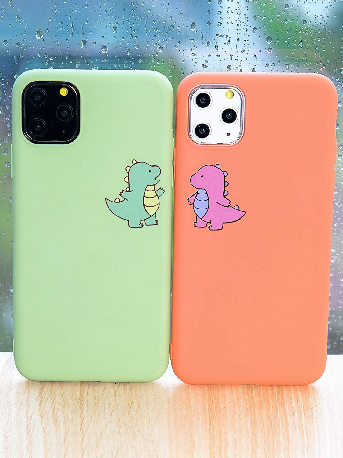 JOYLAND Coral Couple Phone Case Cover for iPhone 6 Plus/6S Plus Dinosaur Case Cute Cartoon Lover Dinosaur Phone Case Cover Peach Color Silicone Bumper Pink Protective Shell for iPhone 6/6S Plus