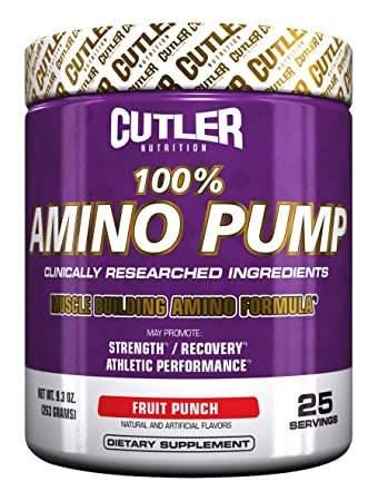 Cutler Nutrition 100 Amino Pump Muscle Building Formula, Fruit Punch, 9.3 Ounce