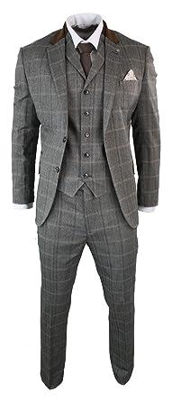 buy popular 0301b d44ba CB Herrenanzug Beige 3 Teilig Kariert Tweed Design Wolle Vintage Retro Stil  Tailored Fit