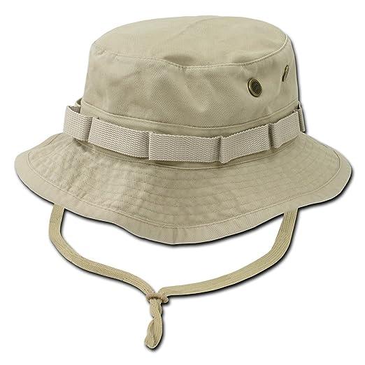 Amazon.com  Khaki Tan Combat Style Drawstring Boonie Bucket Hat ... c8bd0cdb2de