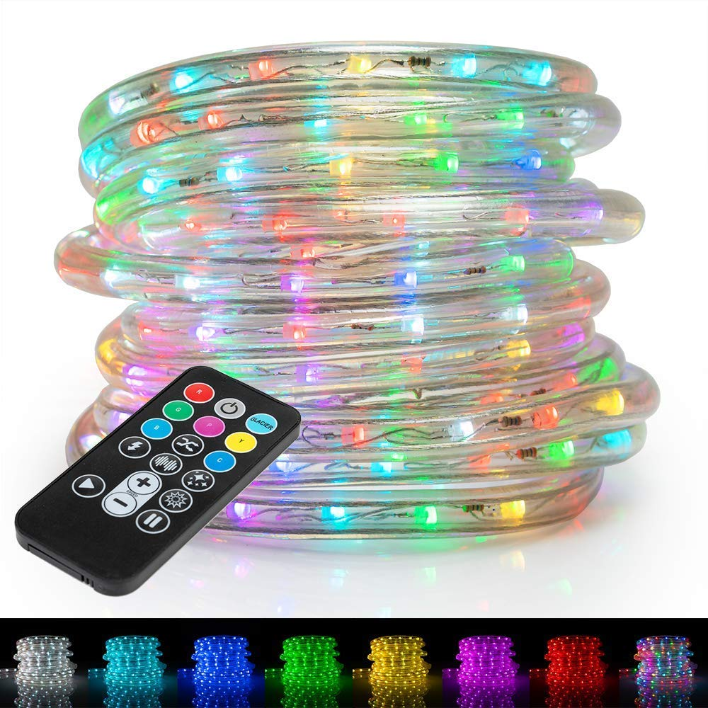 WYZworks 1/2'' (100' feet) Multi-Colors + 8 Color Modes & 4 Lighting Effects LED Rope Lights w/Remote Controller 2 Wire Accent Extendable Holiday Christmas Lighting | ETL Certified