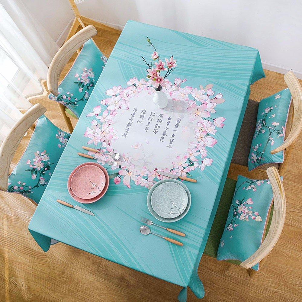 Jinyidian'ShopTischdecke stoffen Shing Tong kreative Runde Tischdecke, blueemen, Tischdecke Restaurant blueee Schreibunterlage rechteckige Kaffee Tischdecke Tischdecke, Tischdecken Shing Tong blueeer Ring