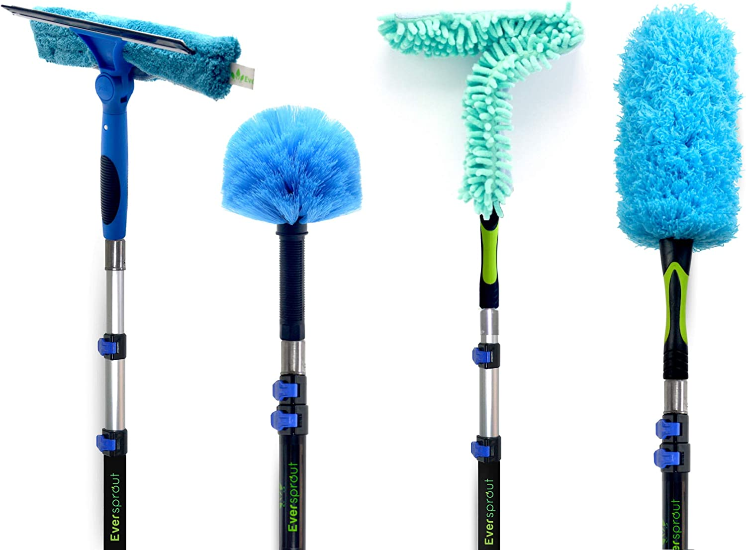 EVERSPROUT 1.5-to-4.5 Foot Duster Squeegee 4-Pack Kit with Extension Pole | Swivel Squeegee, Hand-Packaged Cobweb Duster, Microfiber Feather Duster, Flexible Ceiling Fan Duster, 3 Ft Telescopic Pole